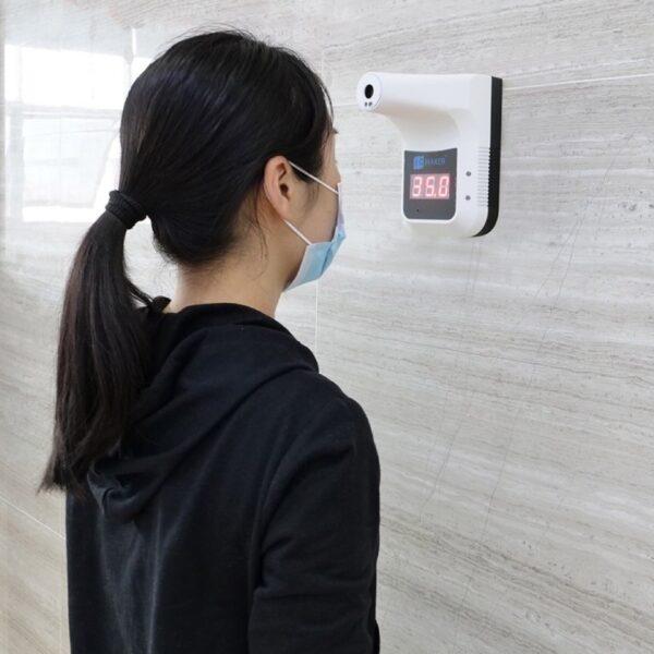 bezdotykowy termometr na podczerwień do montażu na ścianę