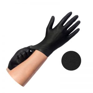 disposable medical black nitrile gloves, protective examination gloves, personal protective equipment, 93/42/EWG, EU 2016/425